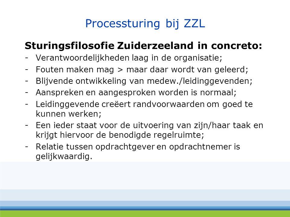 Processturing bij ZZL Sturingsfilosofie Zuiderzeeland in concreto: