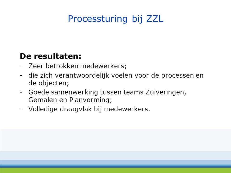 Processturing bij ZZL De resultaten: Zeer betrokken medewerkers;