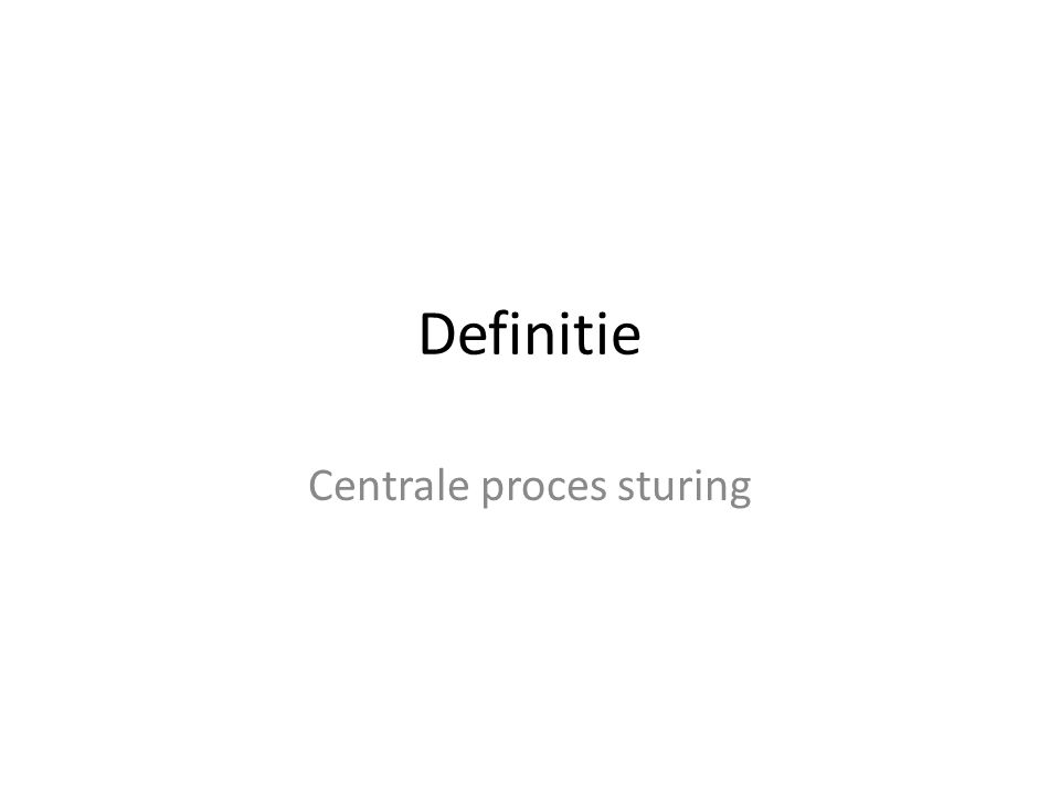 Centrale proces sturing