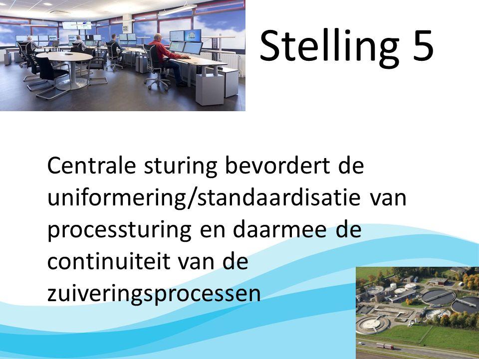 Stelling 5 Centrale sturing bevordert de uniformering/standaardisatie van processturing en daarmee de continuiteit van de zuiveringsprocessen.