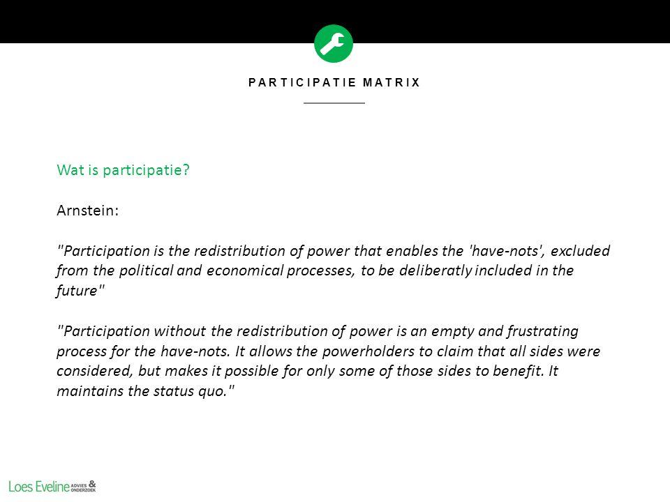 Wat is participatie Arnstein: