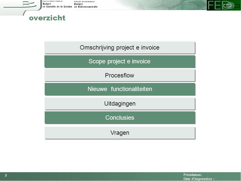 overzicht Omschrijving project e invoice Scope project e invoice