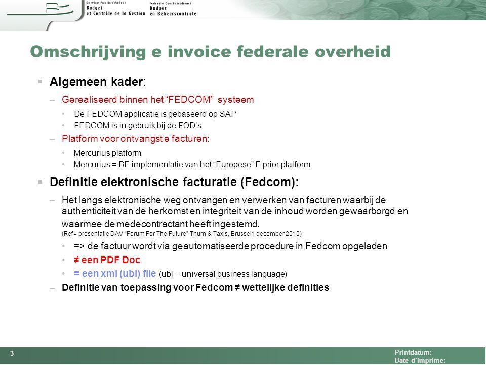 Omschrijving e invoice federale overheid