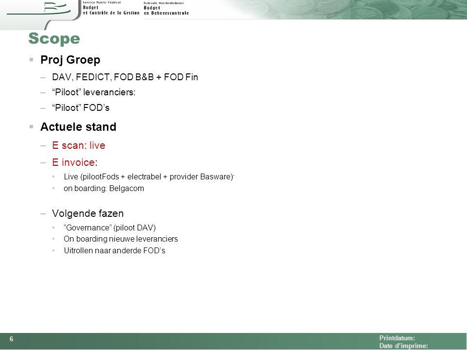 Scope Proj Groep Actuele stand E scan: live E invoice: Volgende fazen