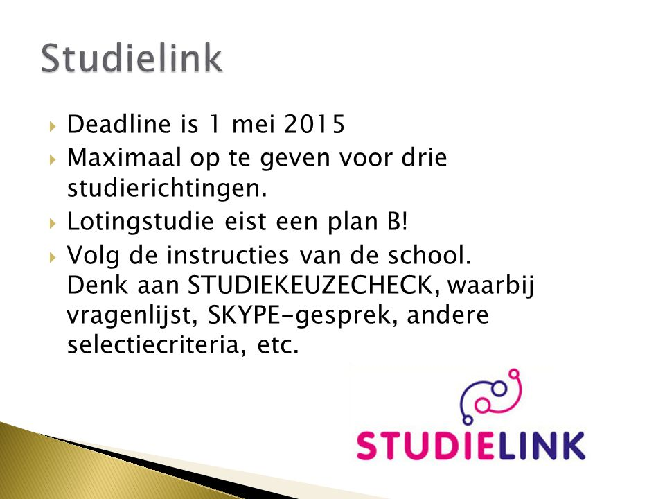 Studielink Deadline is 1 mei 2015