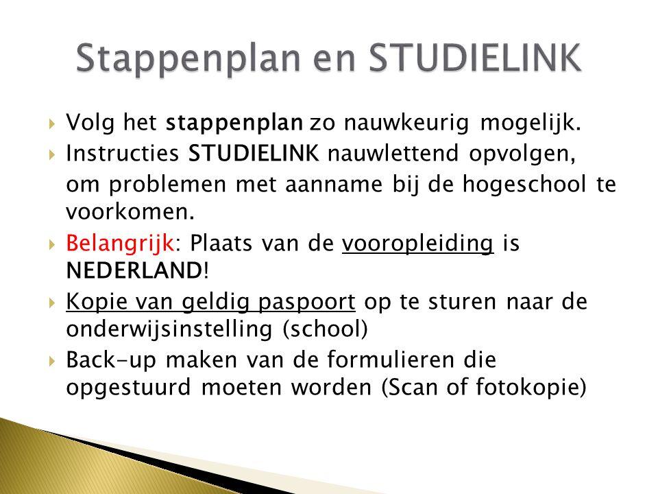 Stappenplan en STUDIELINK