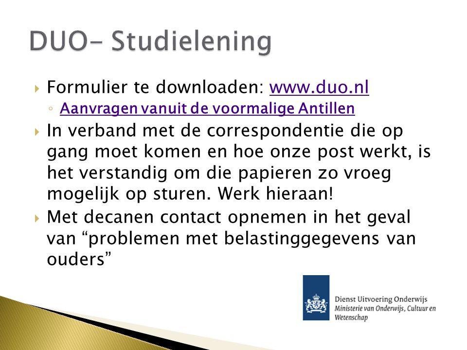DUO- Studielening Formulier te downloaden: www.duo.nl