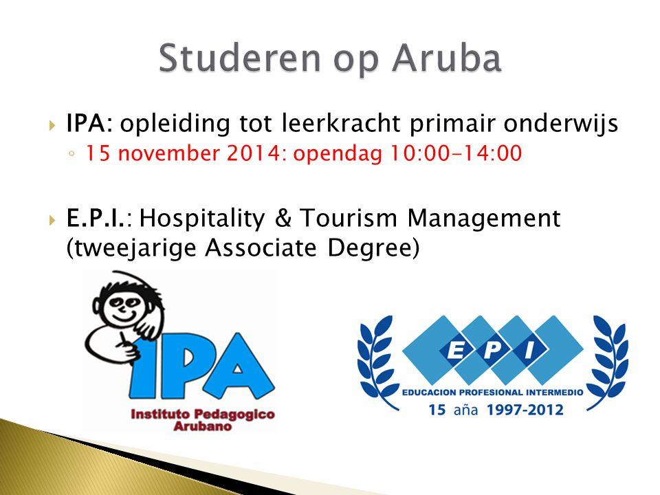 Studeren op Aruba IPA: opleiding tot leerkracht primair onderwijs