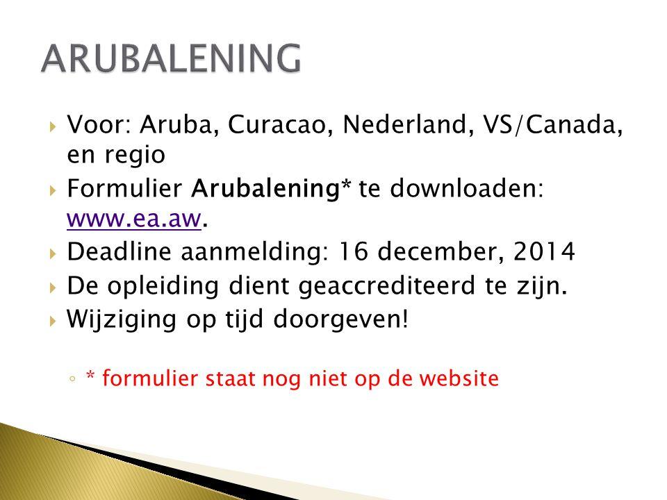 ARUBALENING Voor: Aruba, Curacao, Nederland, VS/Canada, en regio