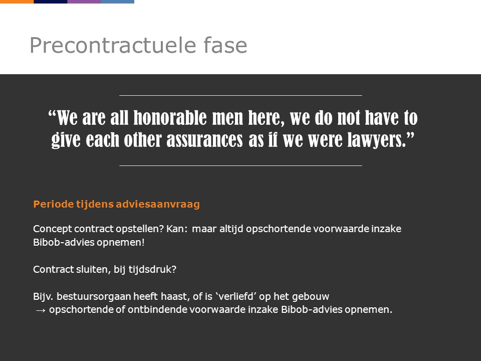 Precontractuele fase We are all honorable men here, we do not have to