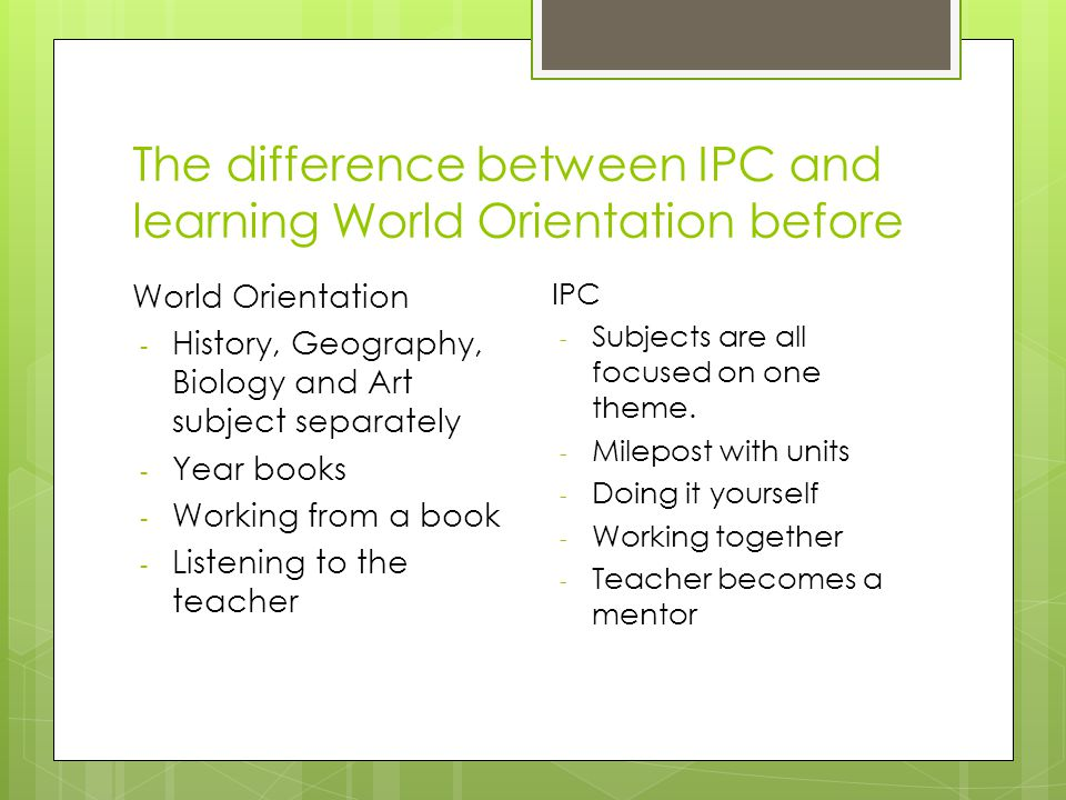 The difference between IPC and learning World Orientation before