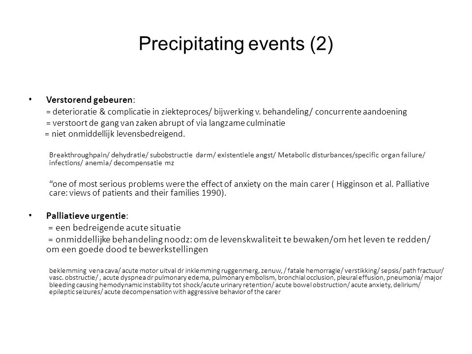 Precipitating events (2)