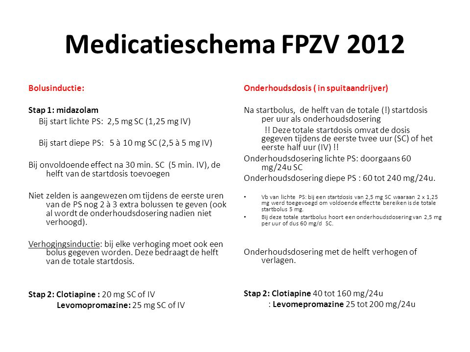 Medicatieschema FPZV 2012