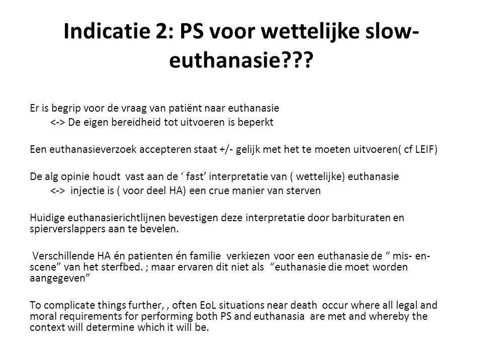 Indicatie 2: PS voor wettelijke slow-euthanasie