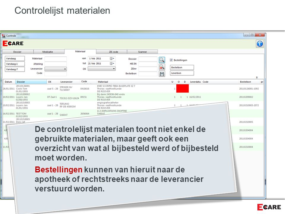 Controlelijst materialen