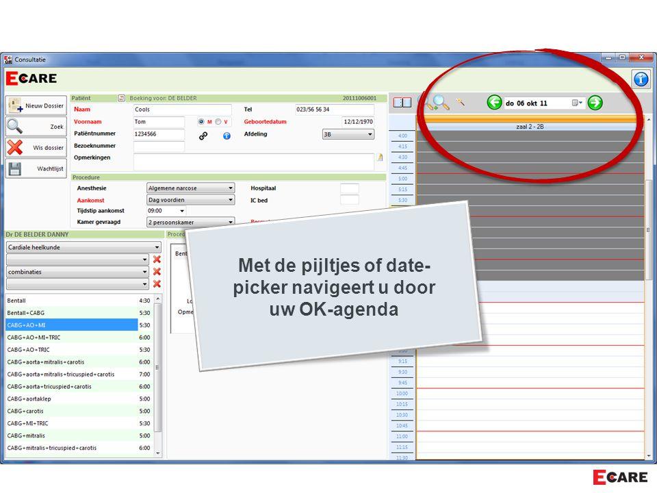 Met de pijltjes of date- picker navigeert u door uw OK-agenda