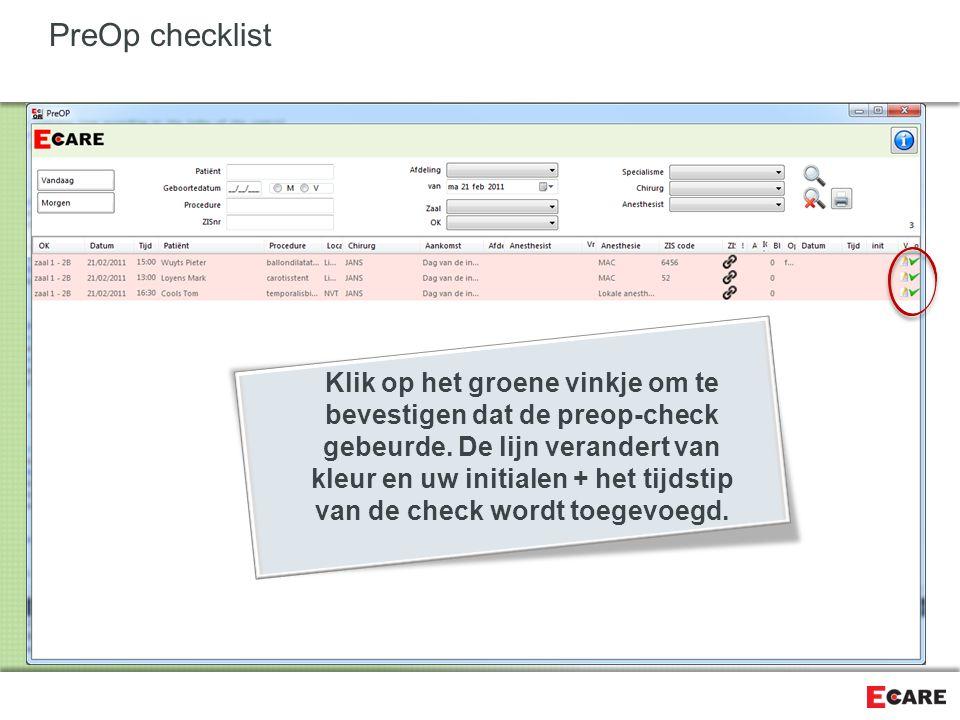 PreOp checklist