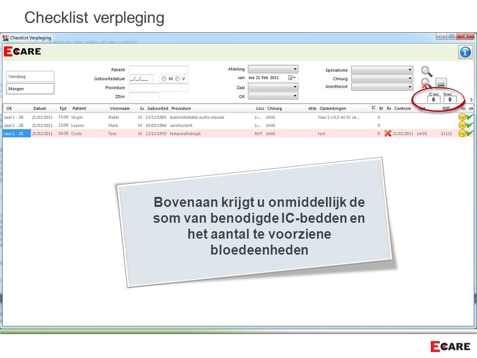 Checklist verpleging Bovenaan krijgt u onmiddellijk de som van benodigde IC-bedden en het aantal te voorziene bloedeenheden.