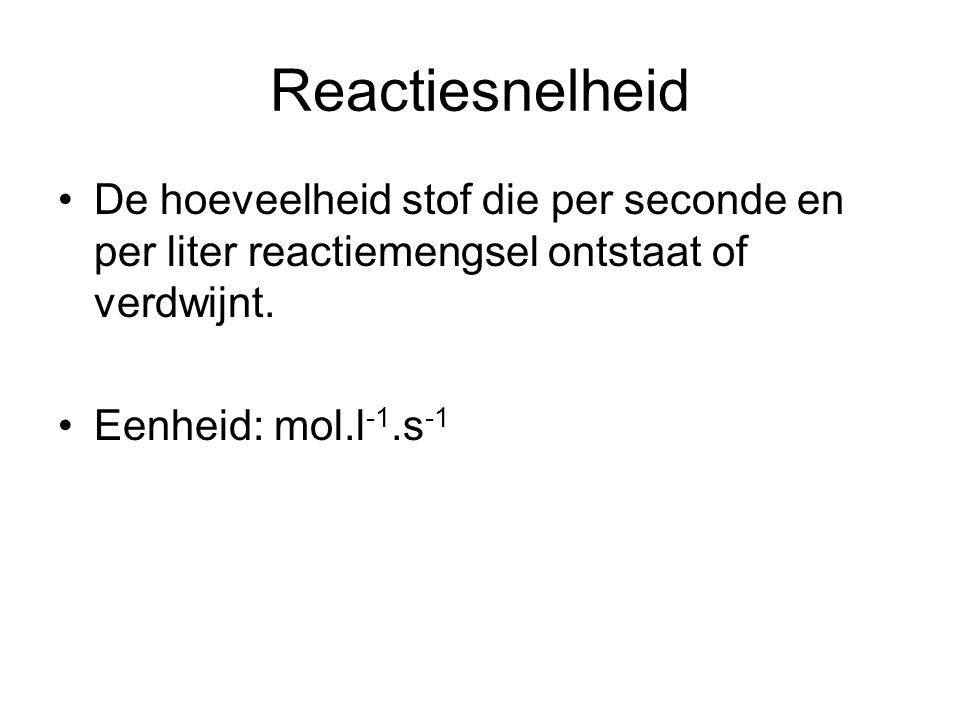 Reactiesnelheid De hoeveelheid stof die per seconde en per liter reactiemengsel ontstaat of verdwijnt.