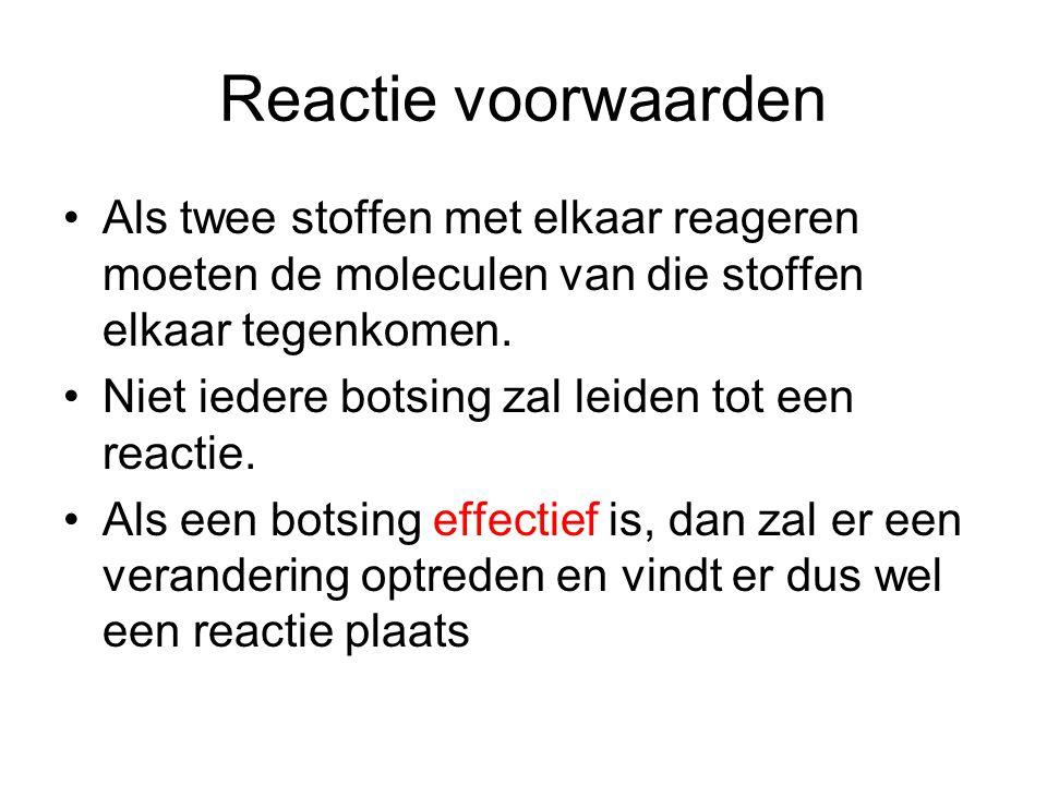 Reactie voorwaarden Als twee stoffen met elkaar reageren moeten de moleculen van die stoffen elkaar tegenkomen.