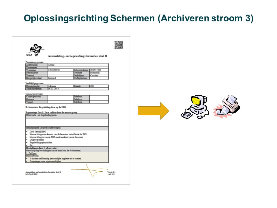 Oplossingsrichting Schermen (Archiveren stroom 3)