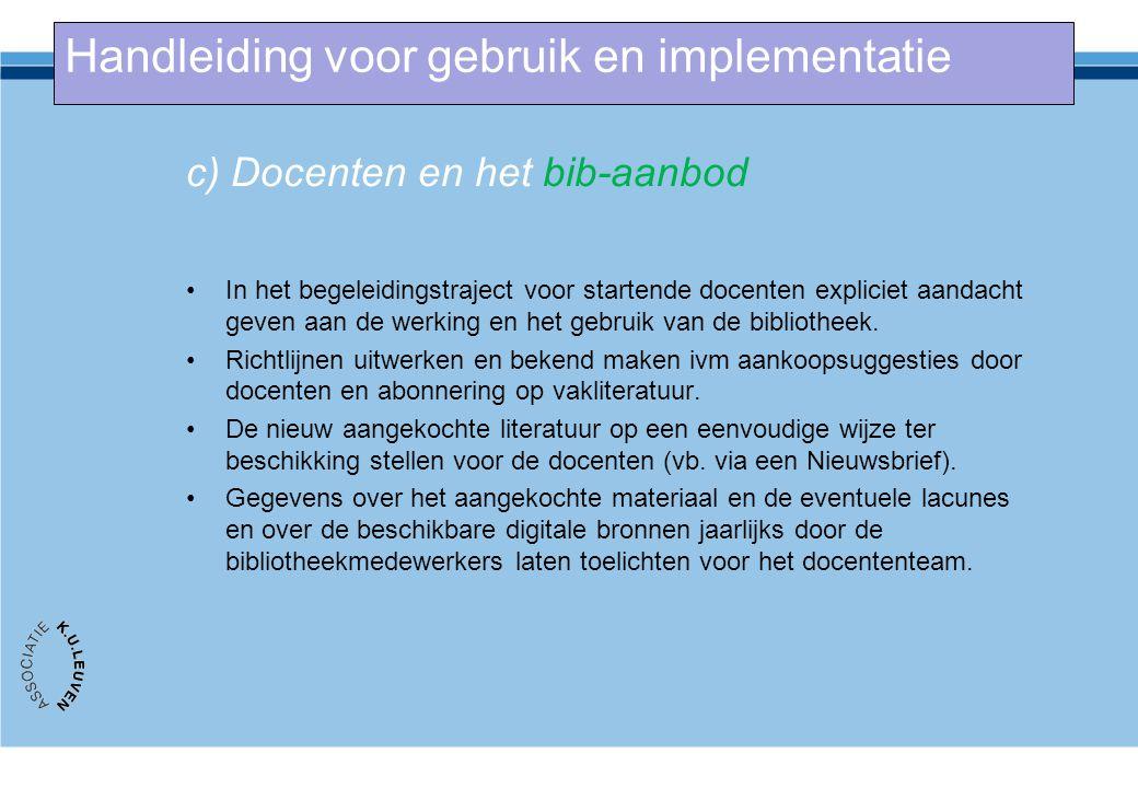 c) Docenten en het bib-aanbod