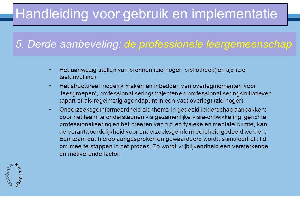 5. Derde aanbeveling: de professionele leergemeenschap