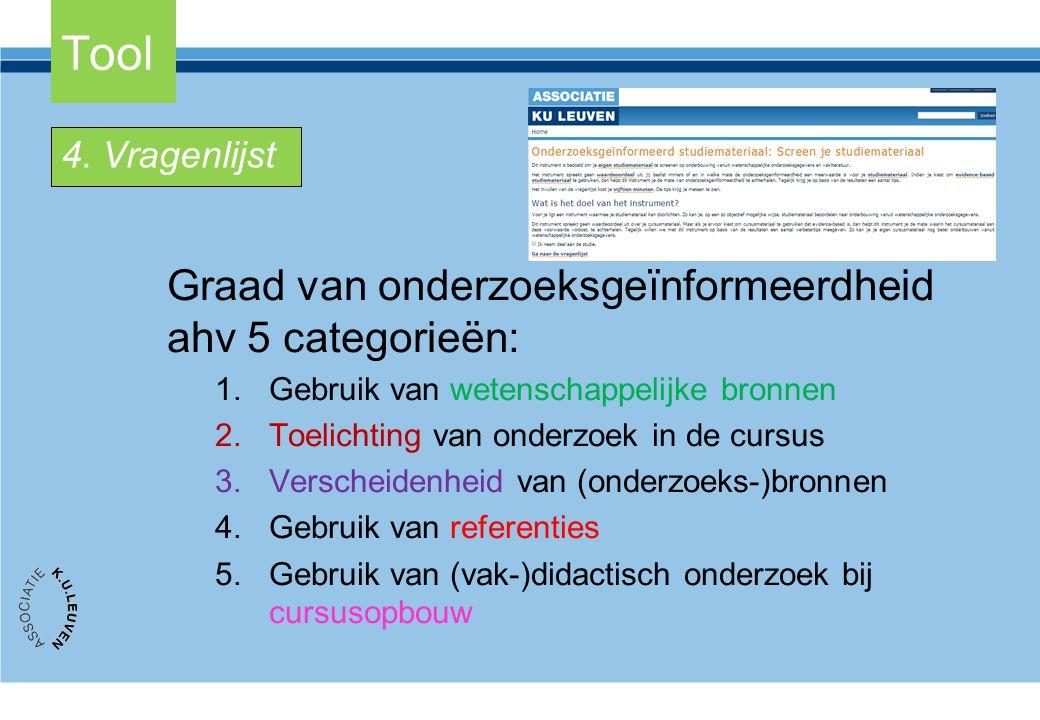 Tool Graad van onderzoeksgeïnformeerdheid ahv 5 categorieën:
