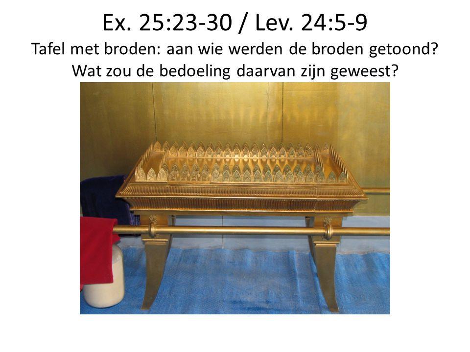 Ex. 25:23-30 / Lev. 24:5-9 Tafel met broden: aan wie werden de broden getoond.