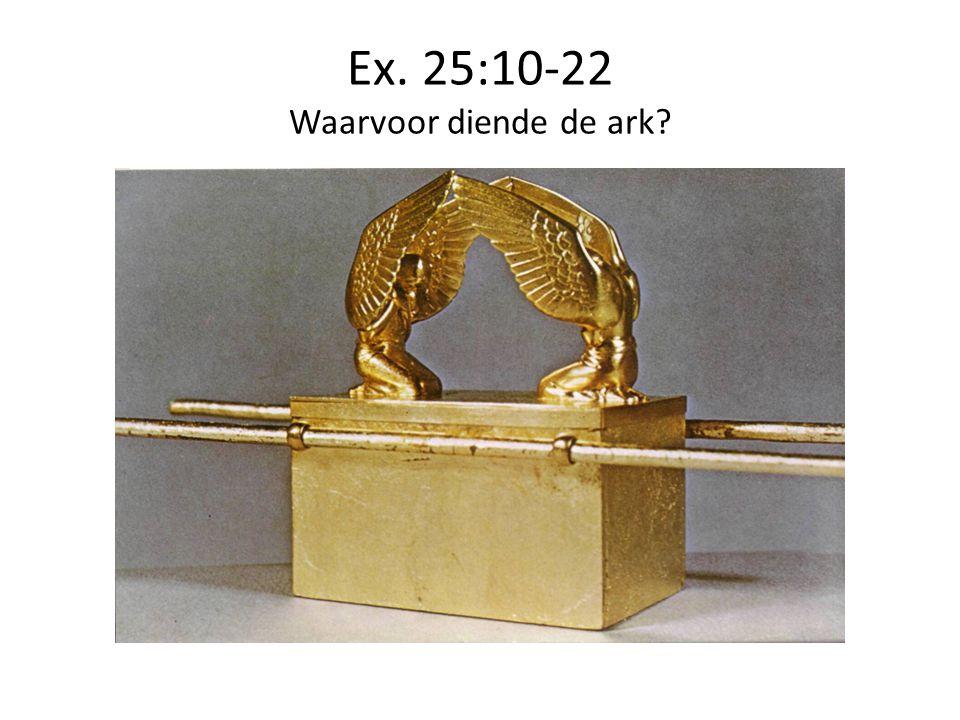 Ex. 25:10-22 Waarvoor diende de ark