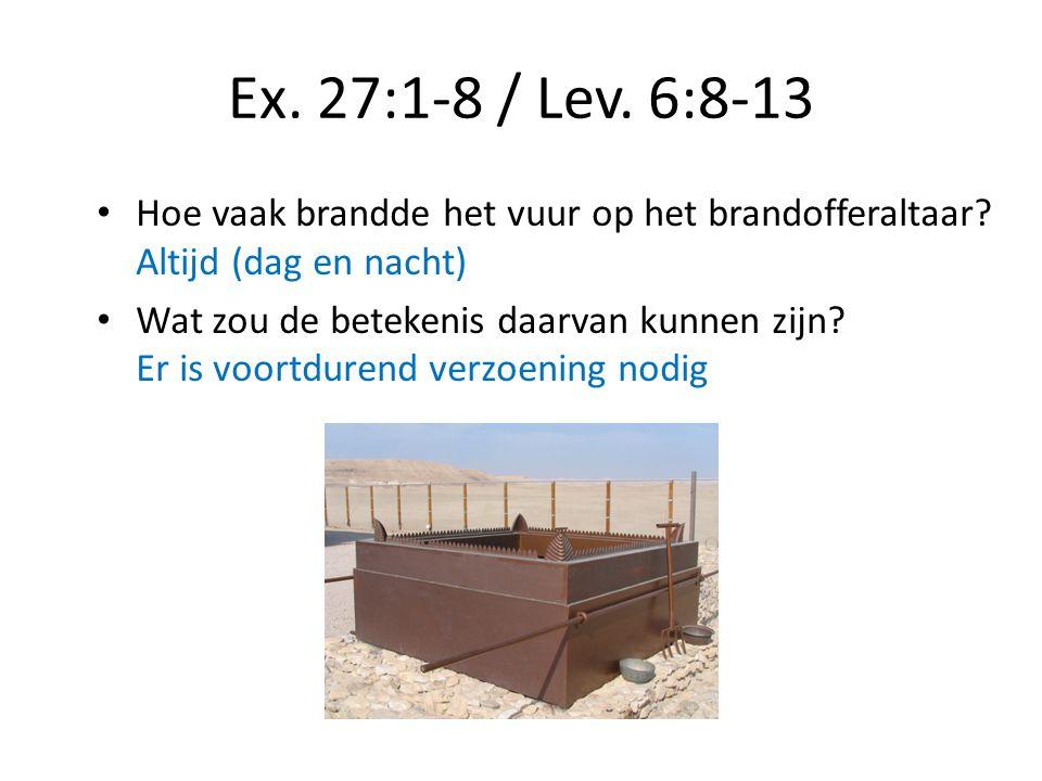Ex. 27:1-8 / Lev. 6:8-13 Hoe vaak brandde het vuur op het brandofferaltaar Altijd (dag en nacht)