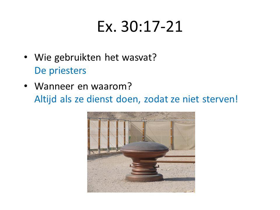 Ex. 30:17-21 Wie gebruikten het wasvat De priesters