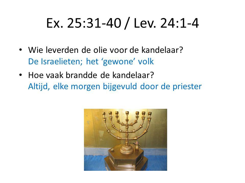 Ex. 25:31-40 / Lev. 24:1-4 Wie leverden de olie voor de kandelaar De Israelieten; het 'gewone' volk.