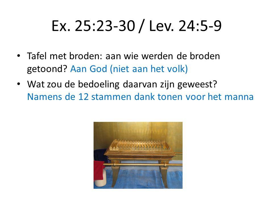 Ex. 25:23-30 / Lev. 24:5-9 Tafel met broden: aan wie werden de broden getoond Aan God (niet aan het volk)