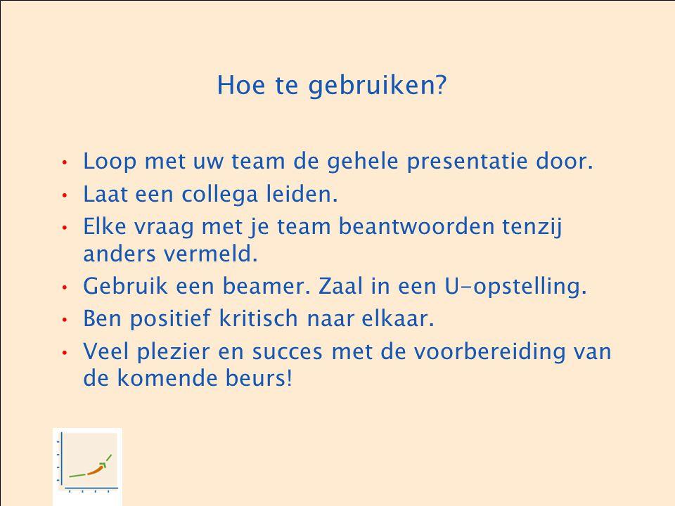 Hoe te gebruiken Loop met uw team de gehele presentatie door.