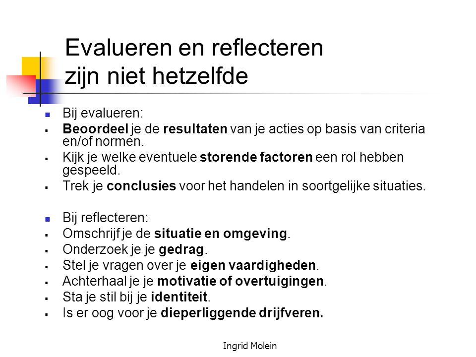 Evalueren en reflecteren zijn niet hetzelfde