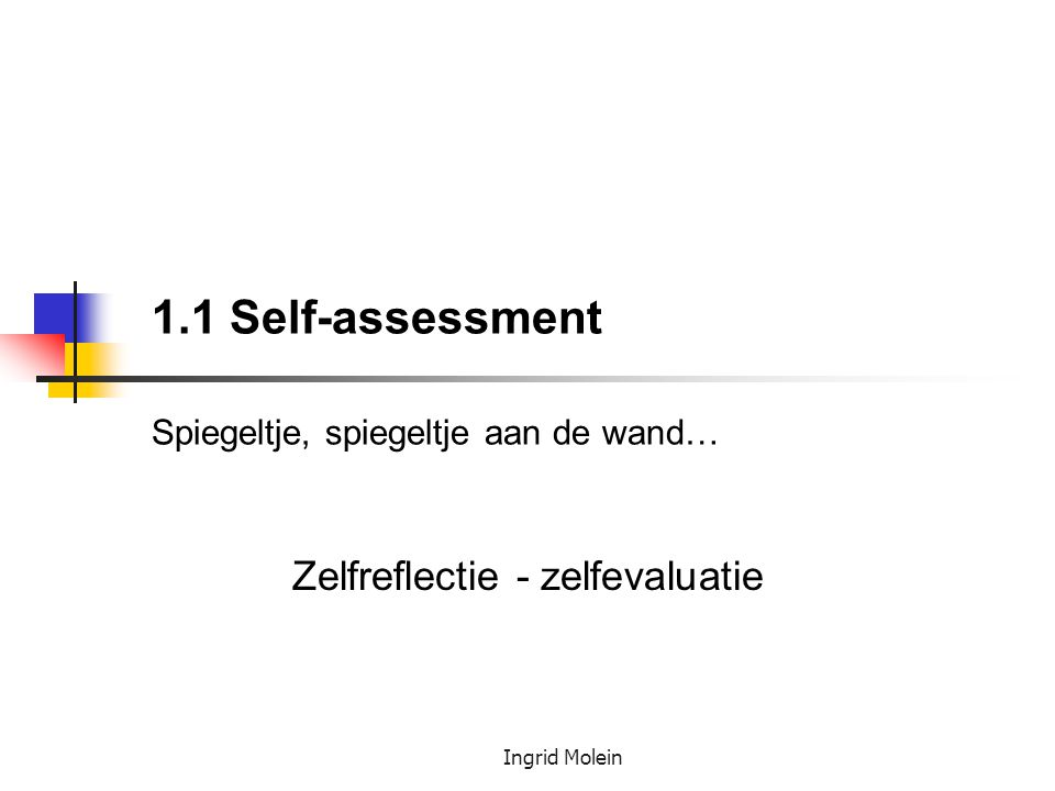1.1 Self-assessment Spiegeltje, spiegeltje aan de wand…