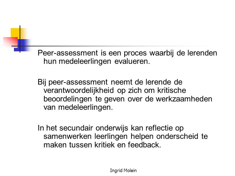 Peer-assessment is een proces waarbij de lerenden hun medeleerlingen evalueren.