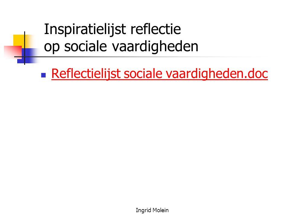 Inspiratielijst reflectie op sociale vaardigheden