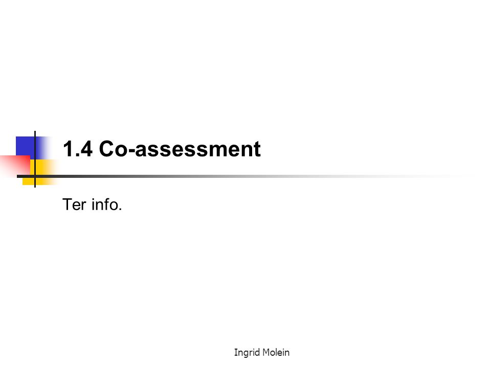 1.4 Co-assessment Ter info.