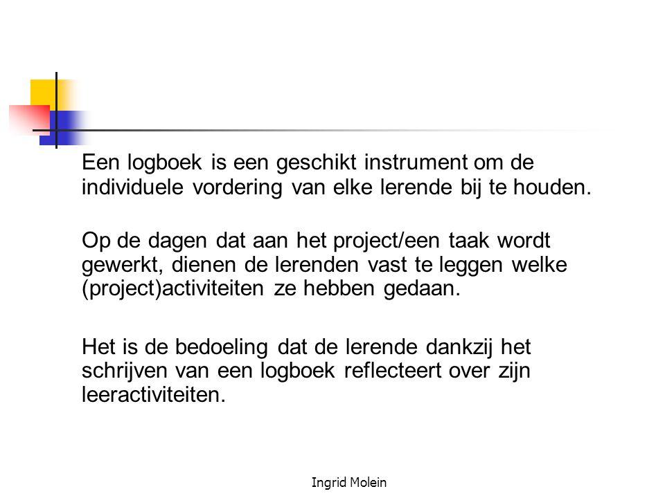 Een logboek is een geschikt instrument om de individuele vordering van elke lerende bij te houden.