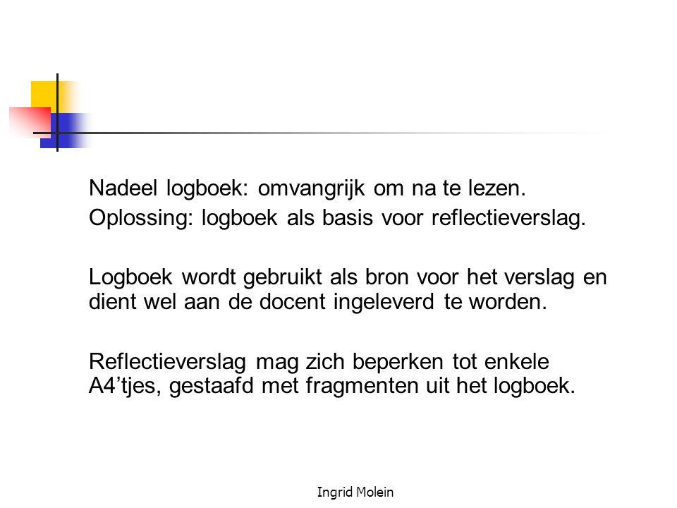 Oplossing: logboek als basis voor reflectieverslag.