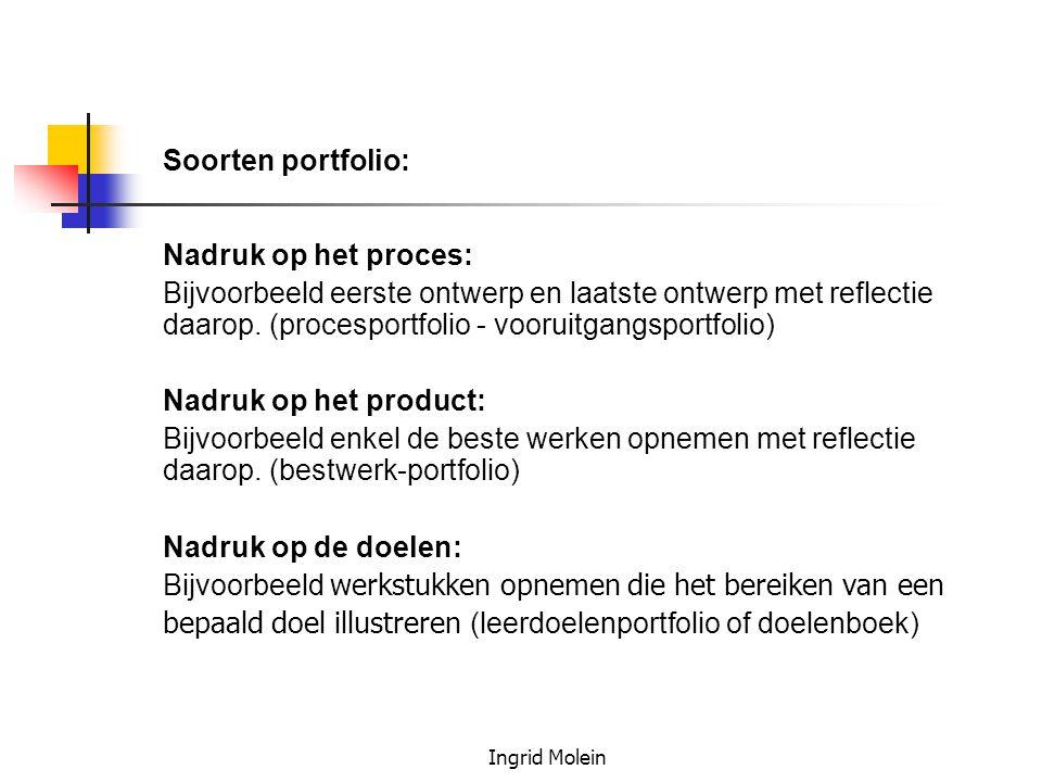 Soorten portfolio: Nadruk op het proces: