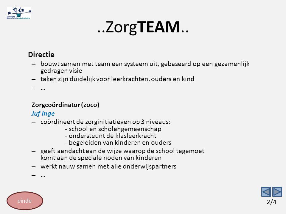 ..ZorgTEAM.. Directie. bouwt samen met team een systeem uit, gebaseerd op een gezamenlijk gedragen visie.