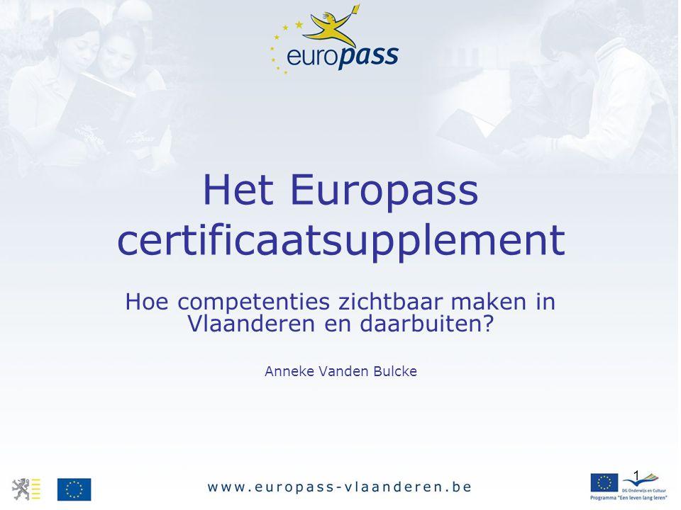 Het Europass certificaatsupplement