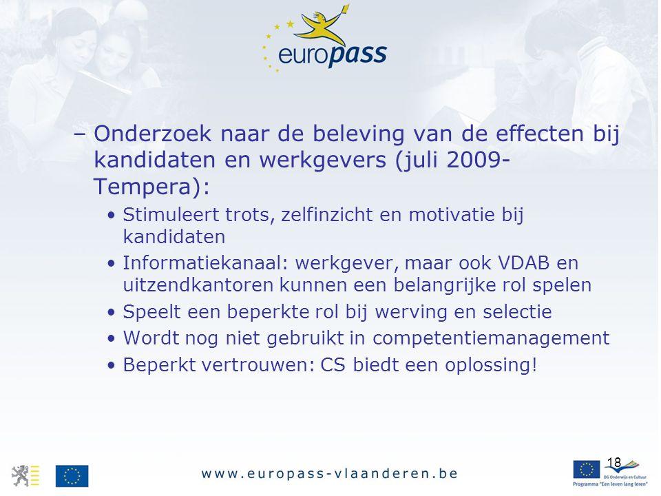 Onderzoek naar de beleving van de effecten bij kandidaten en werkgevers (juli 2009-Tempera):