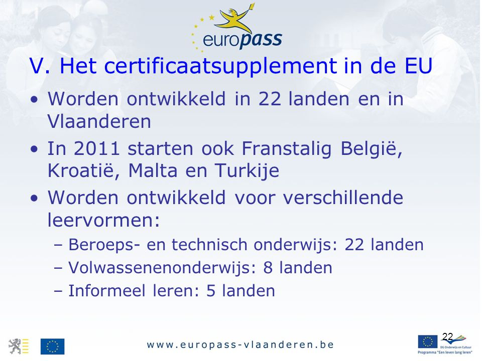 V. Het certificaatsupplement in de EU