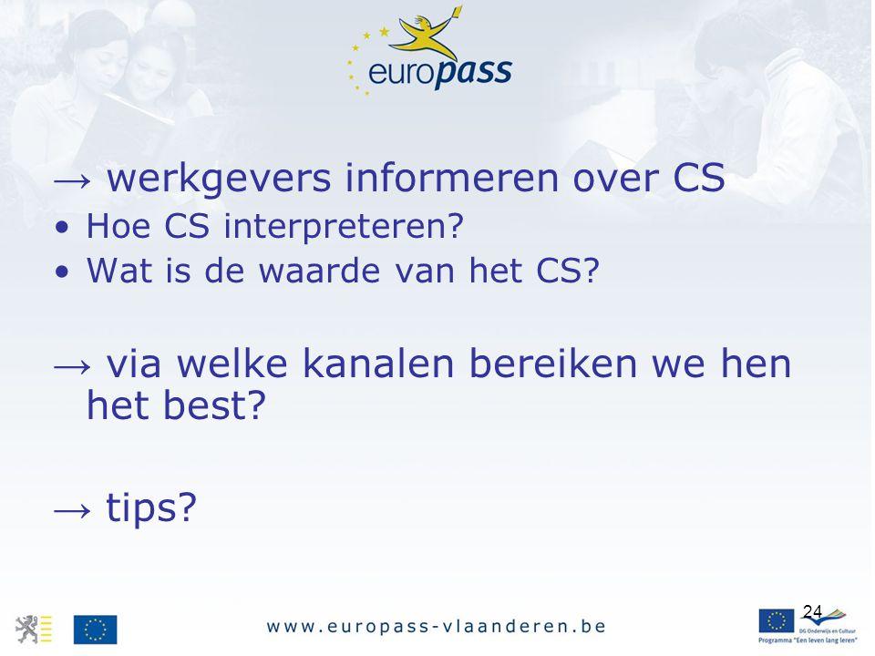 → werkgevers informeren over CS