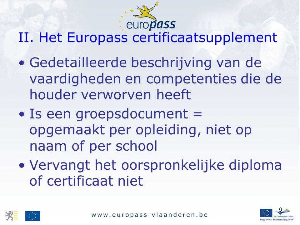 II. Het Europass certificaatsupplement