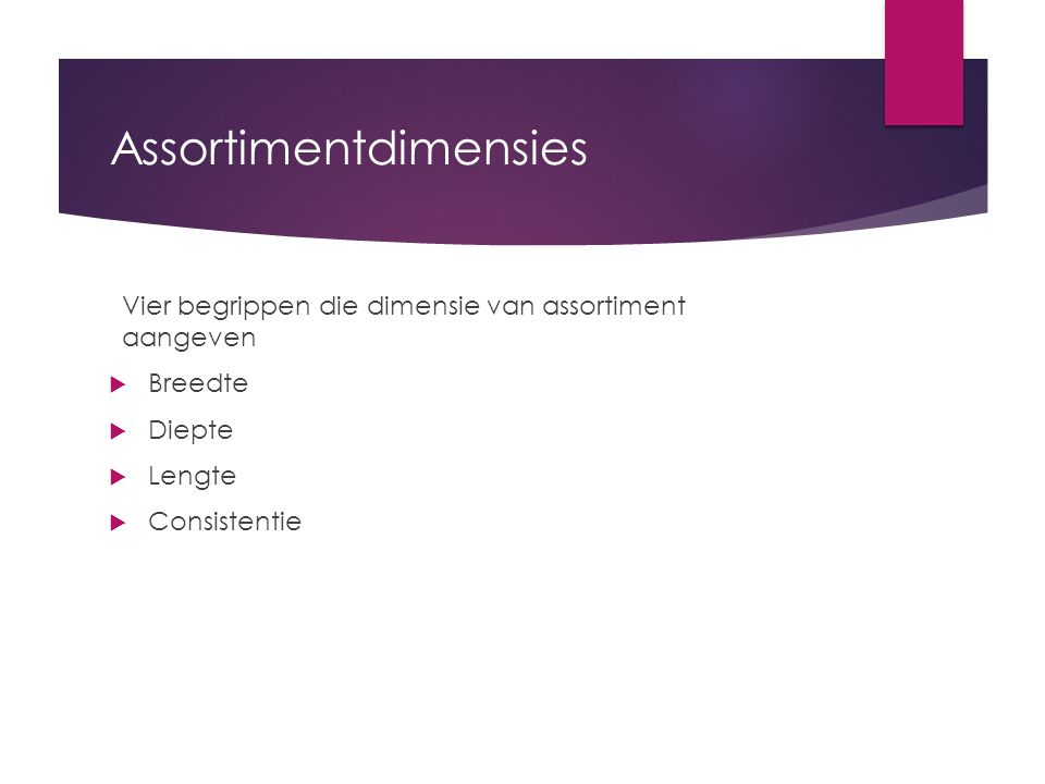 Assortimentdimensies